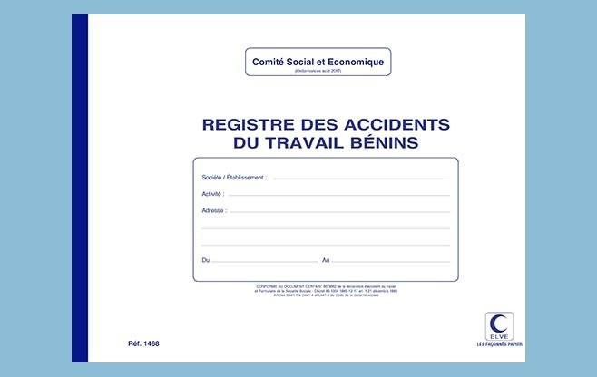 "1468 - Registre ""Accidents du travail bénins"" ELVE"