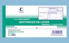 "2307- Carnet ""Quittances de loyer"" - 105 x 210 - 50 tripli - x10"